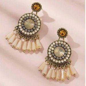 NWOT Beige and Gold Beaded Tassel Dangle Earrings
